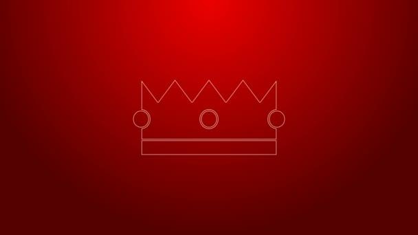 Zöld vonal Korona ikon elszigetelt piros háttérrel. 4K Videó mozgás grafikus animáció