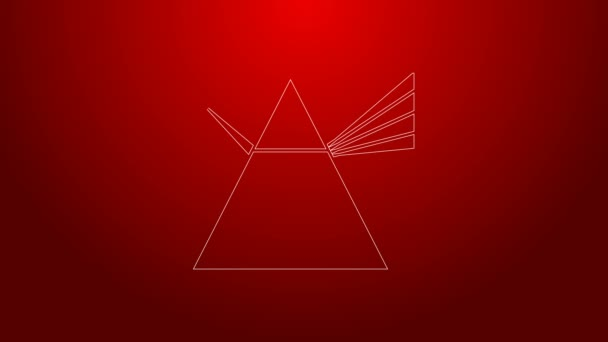 Green line Light rays in prism icon isolated on red background. Ray rainbow spectrum dispersion optical effect in glass prism. 4K Video motion graphic animation