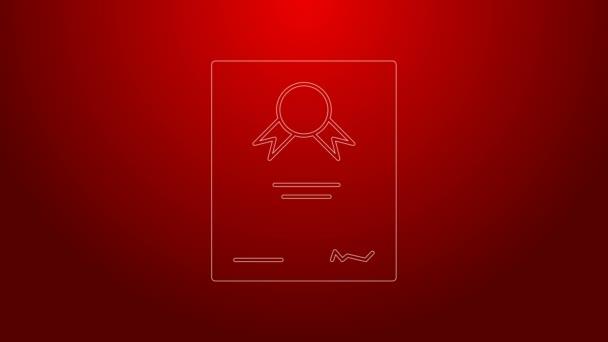 Ikona zelené čáry Certifikátu izolovaná na červeném pozadí. Úspěch, vyznamenání, titul, grant, diplom. Certifikát obchodního úspěchu. Grafická animace pohybu videa 4K
