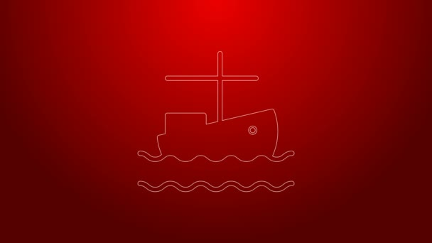 Green line Fishing boat on water icon isolated on red background. 4K Video motion graphic animation