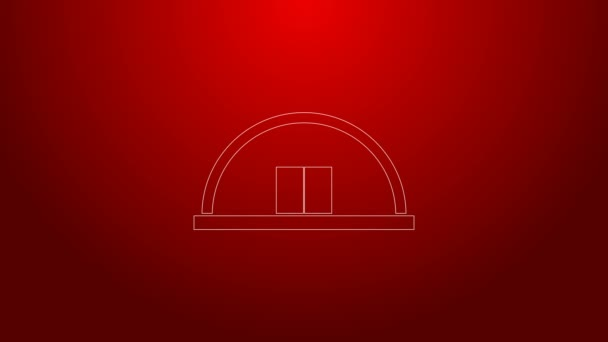 Green line Hangar icon isolated on red background. 4K Video motion graphic animation