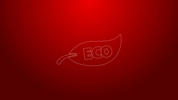Green line Leaf Eco symbol icon isolated on red background. Banner, label, tag, logo, sticker for eco green. 4K Video motion graphic animation