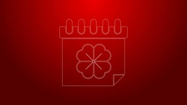 Zelená čára Saint Patricks den s ikonou kalendáře izolované na červeném pozadí. Čtyřlístek jetele. Datum 17. března. Grafická animace pohybu videa 4K