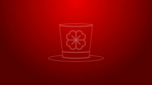Zelená čára Leprechaun klobouk a čtyři listy jetel ikona izolované na červeném pozadí. Šťastný den svatého Patricka. Grafická animace pohybu videa 4K