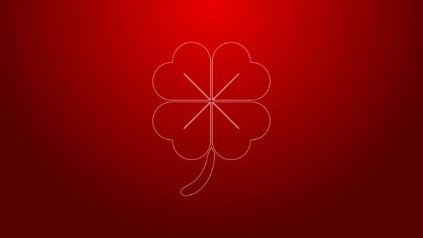 Zelená čára Čtyři listy jetele ikona izolované na červeném pozadí. Šťastný den svatého Patrika. Grafická animace pohybu videa 4K