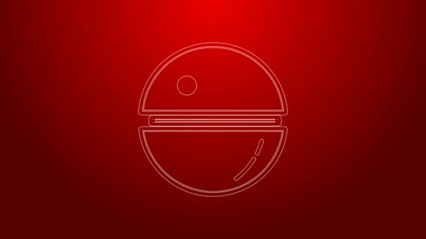 Green line Death star icon isolated on red background. 4K Video motion graphic animation