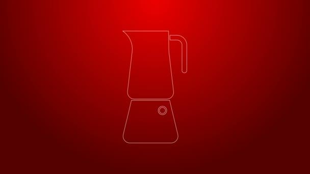 Zöld vonal Moka pot ikon elszigetelt piros háttérrel. Kávéfőző. 4K Videó mozgás grafikus animáció