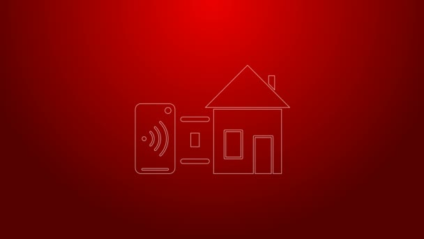 Green line Smart home icon isolated on red background. Remote control. 4K Video motion graphic animation