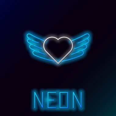 Glowing neon line Heart with wings icon isolated on black background. Love symbol. Valentines day. Colorful outline concept. Vector. icon