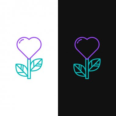 Line Heart shape in a flower icon isolated on white and black background. Colorful outline concept. Vector. icon