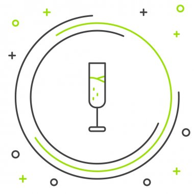 Line Glass of champagne icon isolated on white background. Colorful outline concept. Vector. icon