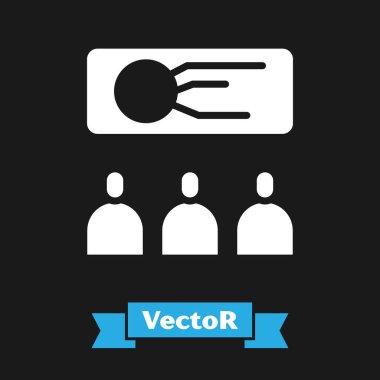 White Training, presentation icon isolated on black background.  Vector Illustration. icon