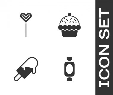 Set Candy, Lollipop, Ice cream and Cupcake icon. Vector. icon
