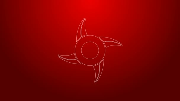 Green line Japanese ninja shuriken icon isolated on red background. 4K Video motion graphic animation