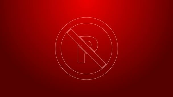 Zelená čára č. Parkování nebo zastavení ikona izolované na červeném pozadí. Pouliční značka. Grafická animace pohybu videa 4K