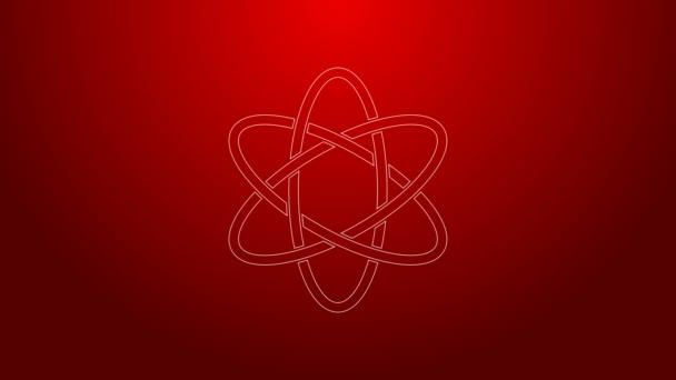 Zöld vonal Atom ikon elszigetelt piros háttérrel. A tudomány, az oktatás, a nukleáris fizika és a tudományos kutatás szimbóluma. 4K Videó mozgás grafikus animáció