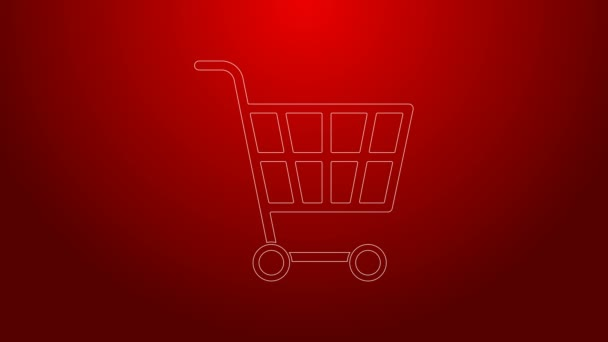 Green line Shopping cart icon isolated on red background. Online buying concept. Delivery service sign. Supermarket basket symbol. 4K Video motion graphic animation