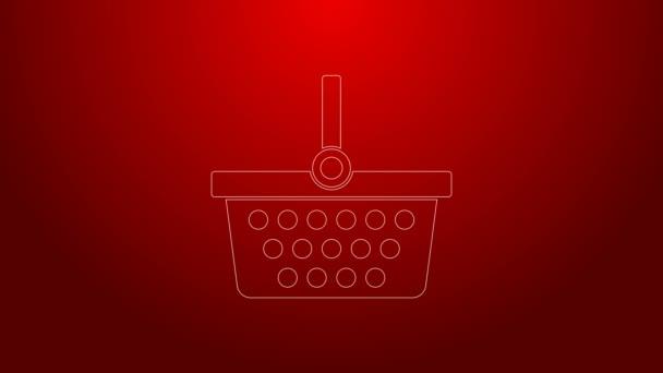 Zelená čára Nákupní košík ikona izolované na červeném pozadí. Online nákupní koncept. Podpis doručovací služby. Symbol nákupního košíku. Grafická animace pohybu videa 4K