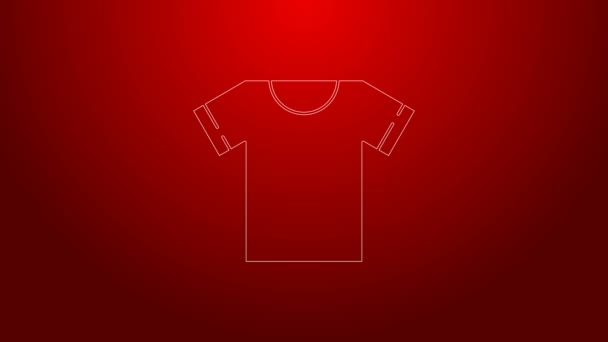 Green line T-shirt icon isolated on red background. 4K Video motion graphic animation