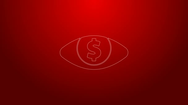 Green line Eye with dollar icon isolated on red background. 4K Video motion graphic animation