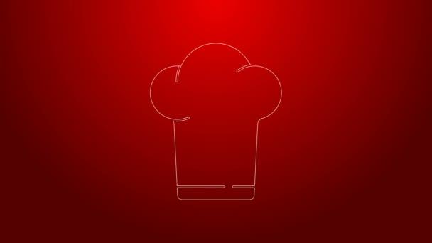 Zelená čára Klobouk ikona izolované na červeném pozadí. Symbol vaření. Kuchařská čepice. Grafická animace pohybu videa 4K
