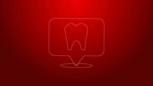 Green line Dental clinic location icon isolated on red background. 4K Video motion graphic animation