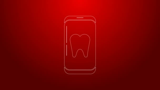 Green line Online dental care icon isolated on red background. Dental service information call center. 4K Video motion graphic animation
