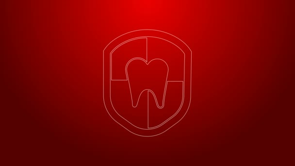 Green line Dental protection icon isolated on red background. Tooth on shield logo. 4K Video motion graphic animation