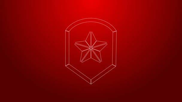 Zöld vonal Rendőrségi jelvény ikon elszigetelt piros háttérrel. Seriff jelvény. Pajzs csillag szimbólummal. 4K Videó mozgás grafikus animáció