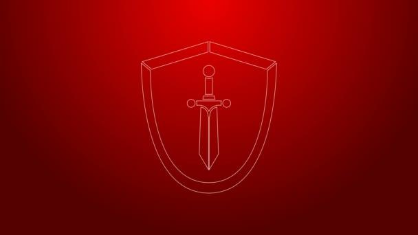 Zöld vonal Középkori pajzs kard ikon elszigetelt piros háttérrel. 4K Videó mozgás grafikus animáció