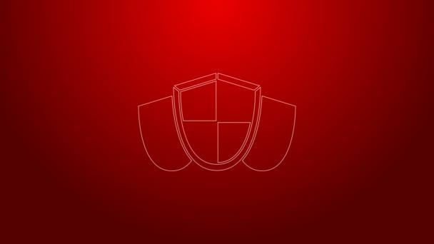 Grüne Linie Schild Symbol isoliert auf rotem Hintergrund. Wachschild. Sicherheit, Sicherheit, Schutz, Privatsphäre. 4K Video Motion Grafik Animation