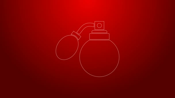 Grüne Linie Aftershave Flasche mit Zerstäuber Symbol isoliert auf rotem Hintergrund. Kölner Sprühbild. Männliche Parfümflasche. 4K Video Motion Grafik Animation