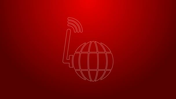 Grüne Linie Globale Technologie oder Symbol für soziale Netzwerke auf rotem Hintergrund isoliert. 4K Video Motion Grafik Animation