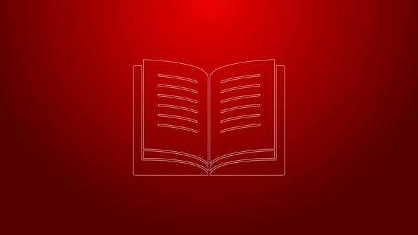 Zelená čára Otevřít ikonu knihy izolované na červeném pozadí. Grafická animace pohybu videa 4K