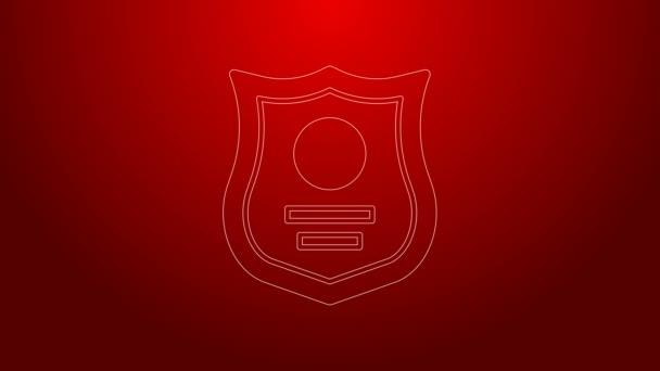 Zöld vonal Rendőrségi jelvény ikon elszigetelt piros háttérrel. Seriff jelvény. 4K Videó mozgás grafikus animáció