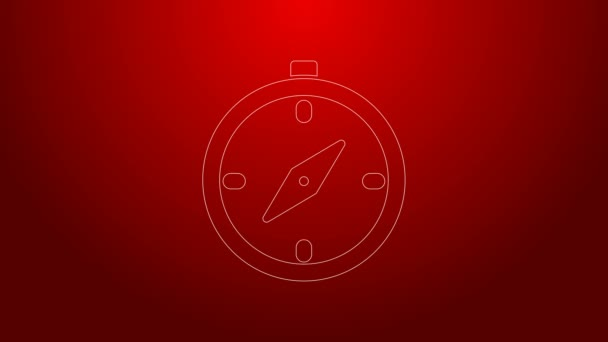 Green line Compass icon isolated on red background. Windrose navigation symbol. Wind rose sign. 4K Video motion graphic animation