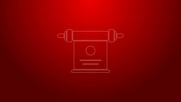 Grüne Linie Magisches Scrollsymbol auf rotem Hintergrund isoliert. Dekret, Papier, Pergament, Schriftrollsymbol. 4K Video Motion Grafik Animation