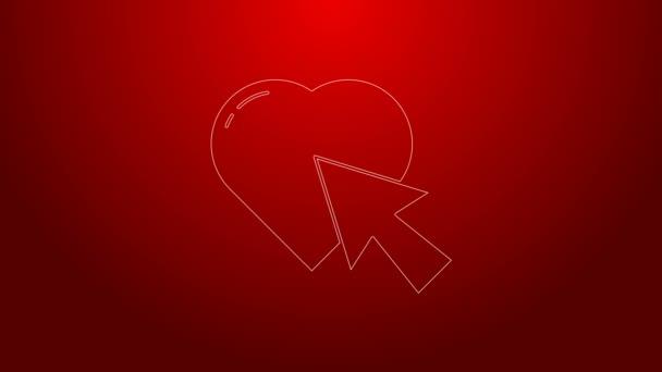 Zelená čára Srdce a kurzor klikněte na ikonu izolované na červeném pozadí. Online randění. Klikněte na tlačítko. Mezinárodní den šťastných žen. Grafická animace pohybu videa 4K