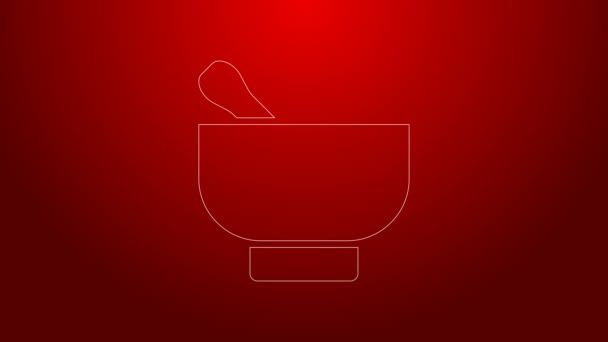 Green line Magic mortar and pestle icon isolated on red background. 4K Video motion graphic animation