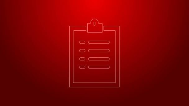 Grüne Linie Zwischenablage mit Checklisten-Symbol auf rotem Hintergrund. Kontrolllisten-Symbol. Umfrage oder Fragebogen-Feedback-Formular. 4K Video Motion Grafik Animation