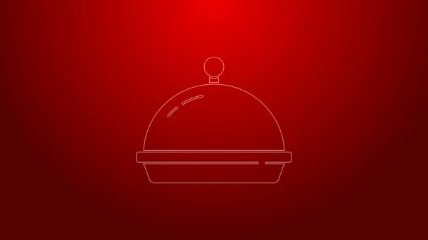 Grüne Linie, bedeckt mit einem Tablett mit Lebensmittelsymbolen auf rotem Hintergrund. Tablett und Deckel vorhanden. Restaurant Cloche mit Deckel vorhanden. Geschirrsymbol vorhanden. 4K Video Motion Grafik Animation