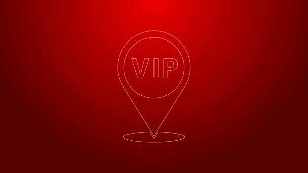 Zelená čára Umístění Ikona Vip izolované na červeném pozadí. Grafická animace pohybu videa 4K