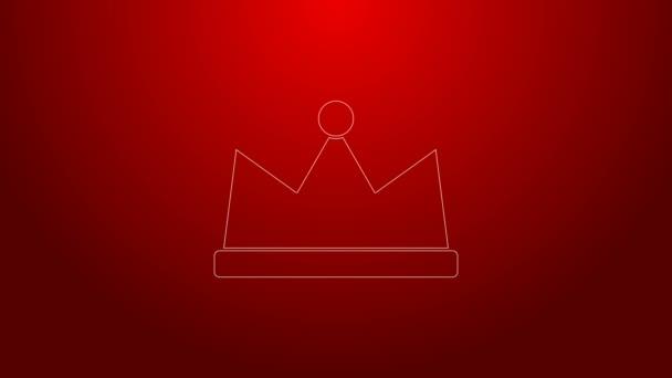 Ikona Zelená čára Koruna izolovaná na červeném pozadí. Grafická animace pohybu videa 4K