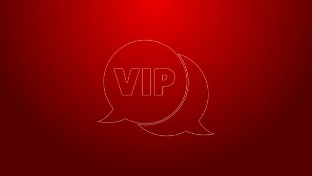 Zelená čára Vip v ikonu hlasové bubliny izolované na červeném pozadí. Grafická animace pohybu videa 4K