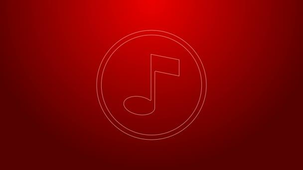 Grüne Linie Musiknotiz, Tonsymbol isoliert auf rotem Hintergrund. 4K Video Motion Grafik Animation