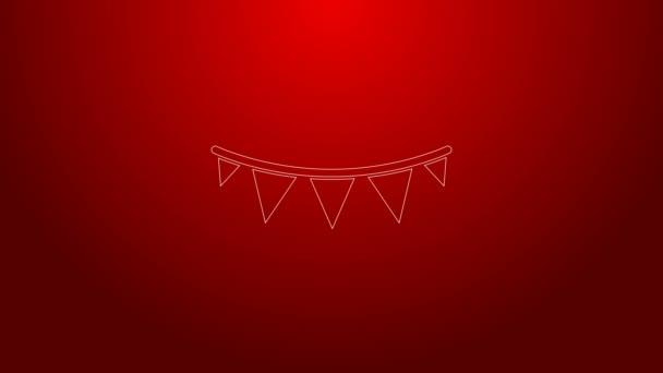 Zöld vonal Karnevál koszorú zászlók ikon elszigetelt piros háttérrel. Parti zászlók a születésnapi ünnepségre, fesztivál dekoráció. 4K Videó mozgás grafikus animáció