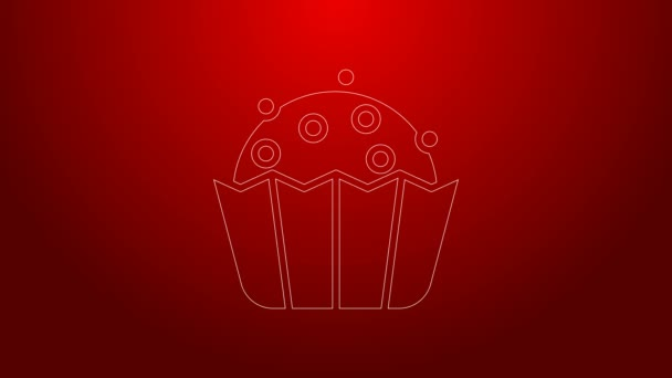 Green line Cupcake icon isolated on red background. 4K Video motion graphic animation