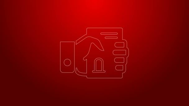 Zelená čára Úmrtní list v ruce ikona izolované na červeném pozadí. Grafická animace pohybu videa 4K