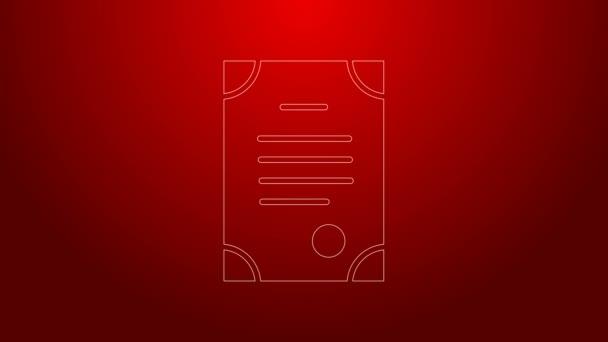 Zelená čára Ikona úmrtního listu izolovaná na červeném pozadí. Grafická animace pohybu videa 4K