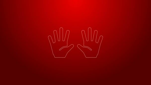 Zöld vonal Orvosi gumikesztyű ikon elszigetelt piros háttérrel. Védőkesztyű. 4K Videó mozgás grafikus animáció